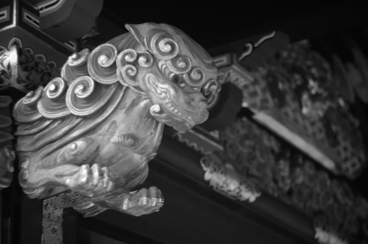 One of the carvings at Kunozan Toshogu (a Summar 5cm f2 lens)