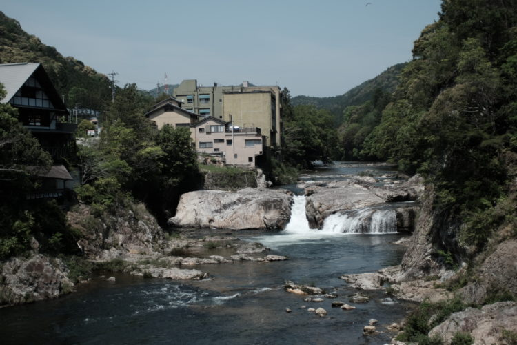 Onsen facilities along the river in Aichi Prefecture, Japan