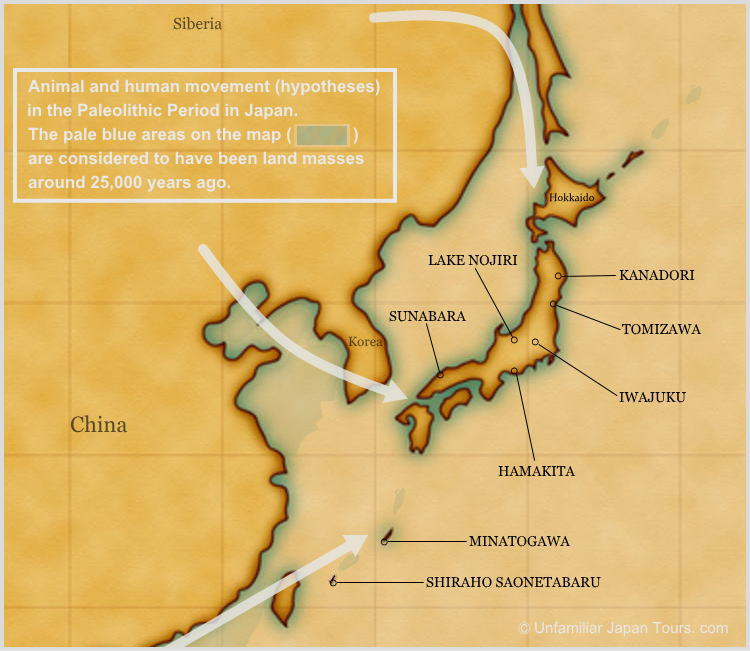 Map of Japan in the Paleolithic Period