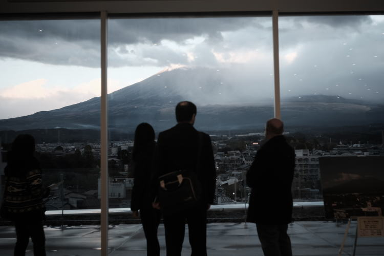 Mount Fuji under the rainy weather, as seem from the World Heritage Centre, Shizuoka.