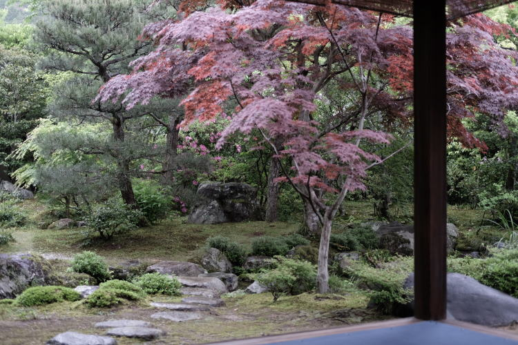 A Japanese garden in the Heian Period, Kyoto.
