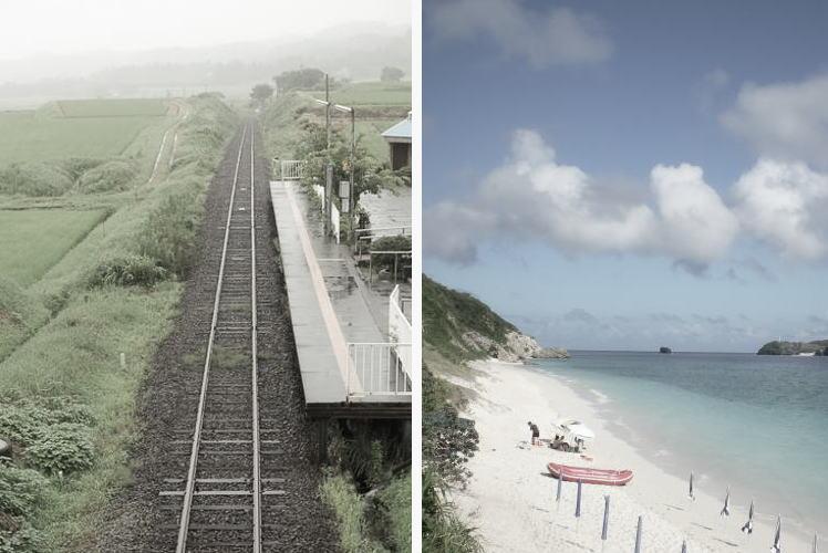 Railway in Aso and a beach in Okinawa (阿蘇と沖縄)