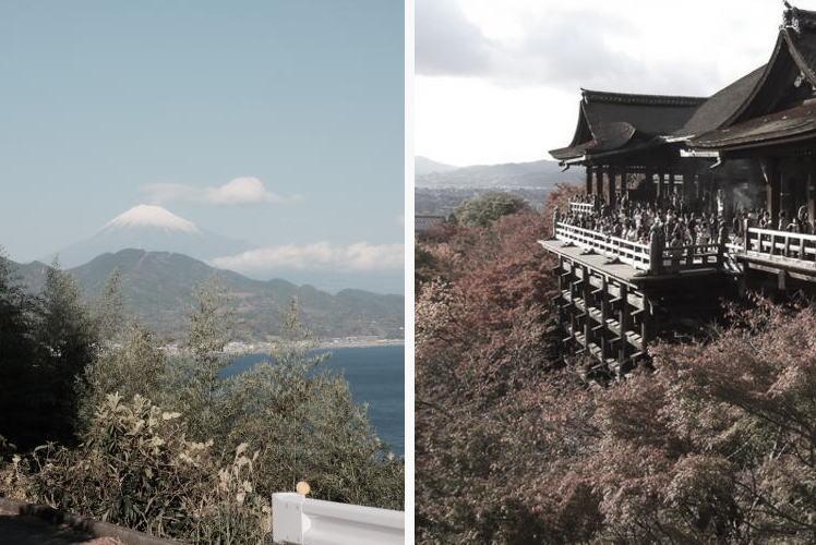 Mt. Fuji and Kiyomizu-dera in Kyoto (富士山と清水寺)