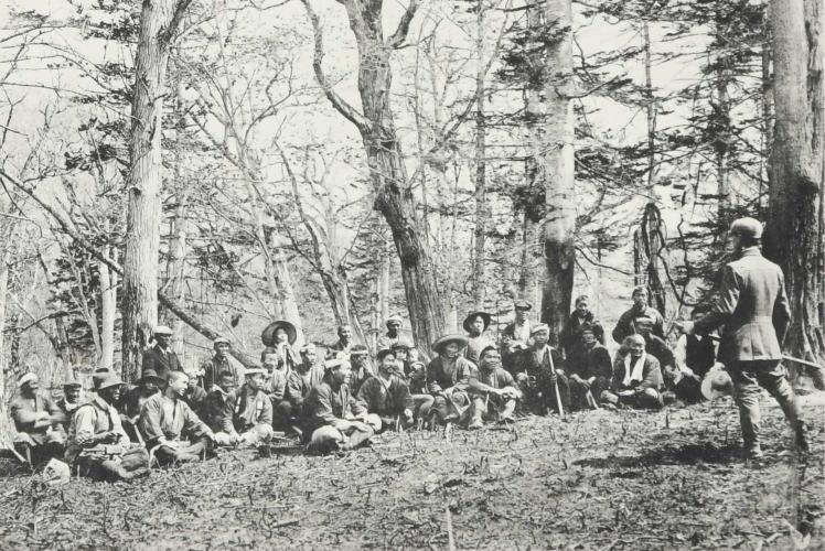 Early pioneers in Hokkaido, Japan (開墾に着手する移住者達)