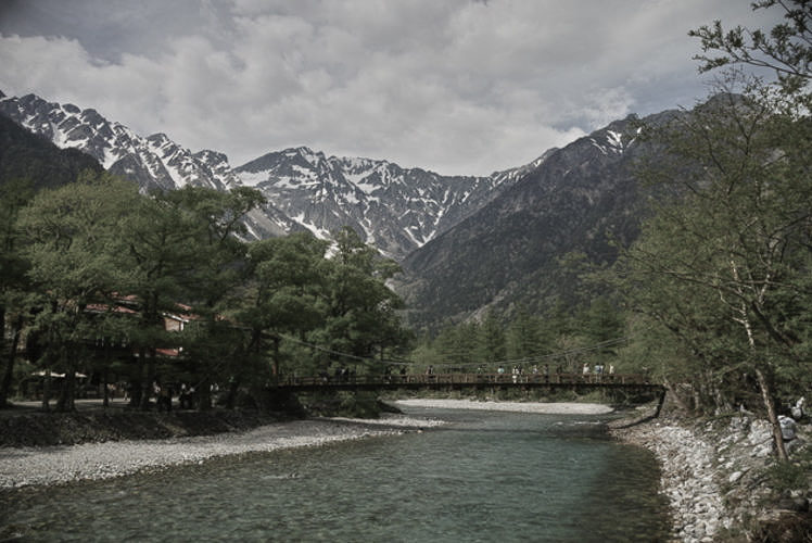 """Mountains of the """"Northern Alps"""" as seen from Kamikochi, Nagano."""