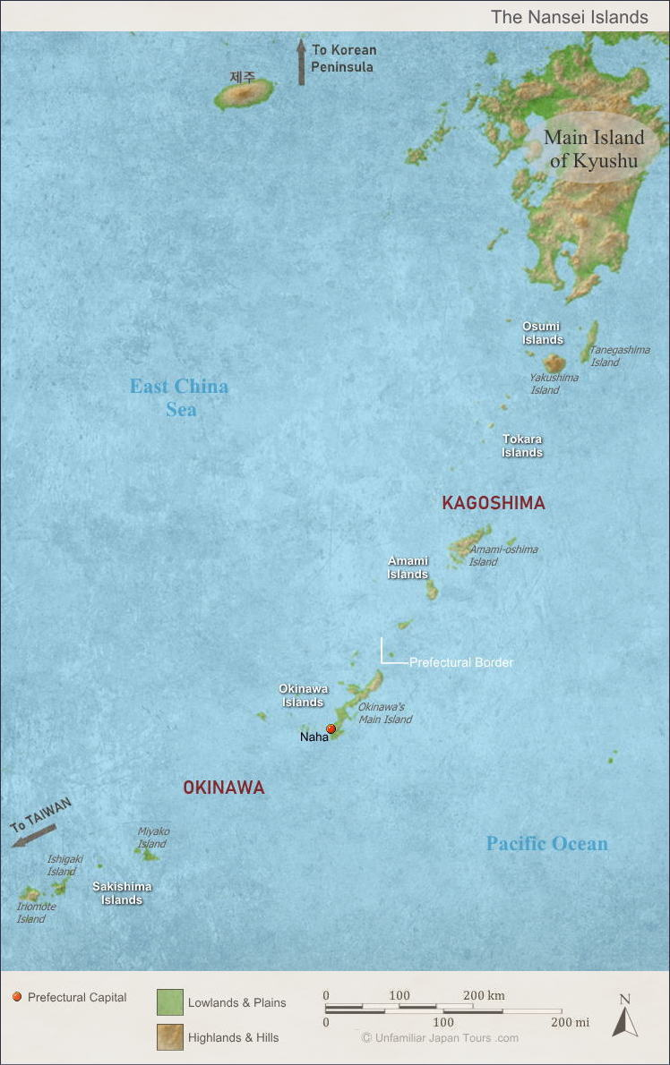 Map of the Nansei Islands, including Okinawa, Japan. (沖縄と南西諸島の地形)