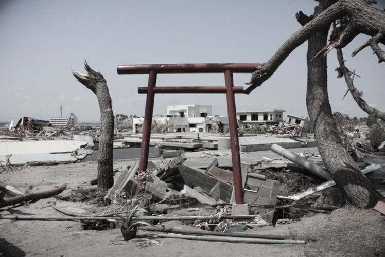 Torii gate after the Tohoku earthquake(東日本大震災の後、瓦礫に立つ鳥居)