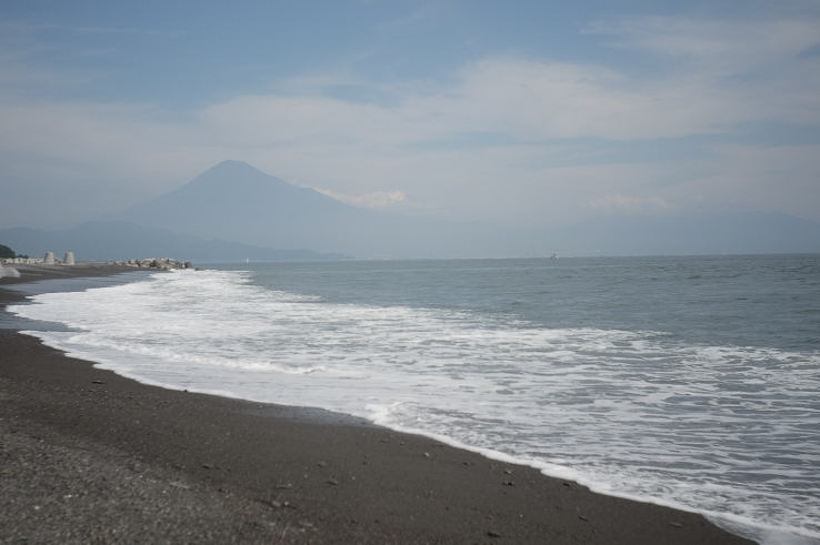 Mount Fuji in October, as seen from the beach of Miho