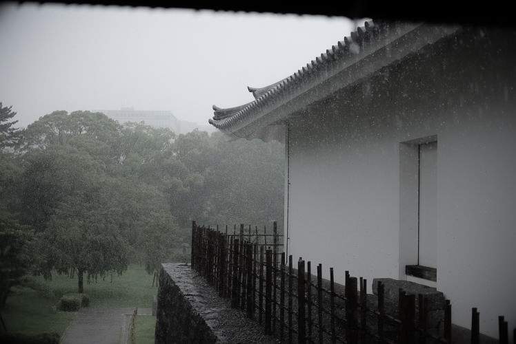 The East Gate structure, reconstructed in Sumpu Castle Park (雨の駿府公園)