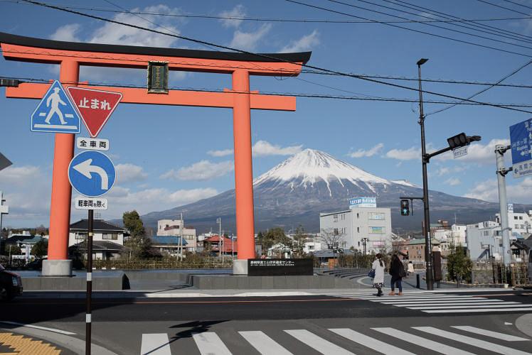 Mount Fuji as seen from Mt. Fuji World Heritage Centre, Shizuoka.