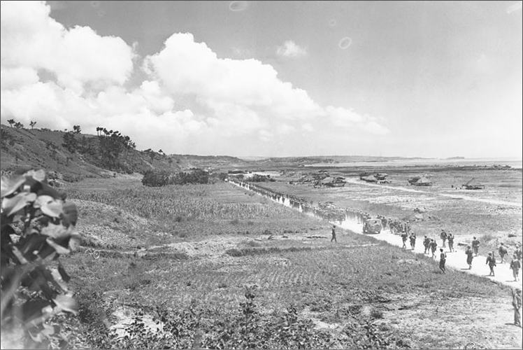 The battle of Okinawa in 1945.