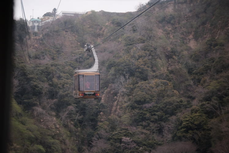 A cable car departs from Nihondaira.